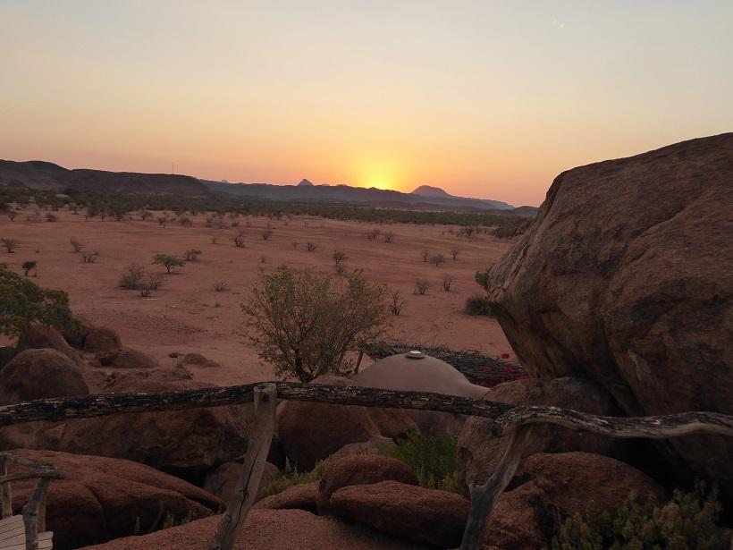 Namib_Wüste, Lodge, Sonnenuntergang