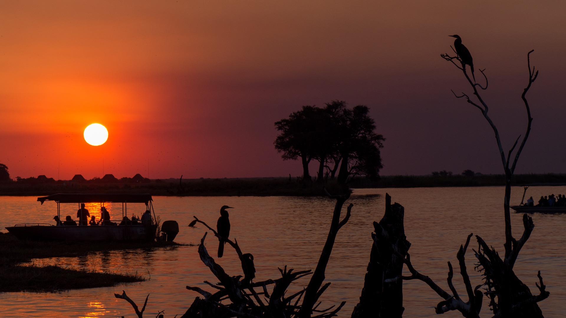 Bootssafari Chobe Sonnenuntergag